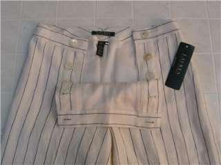 New Polo Ralph Lauren Womens 100% Linen Dress Pants Lined 4 Pinstripe