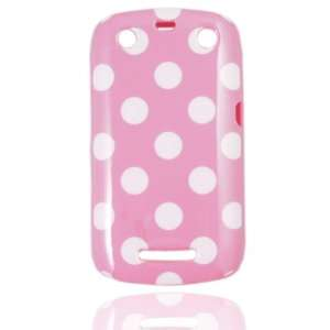 Pink Polka Dot Flex Gel Case for Blackberry Curve 9350