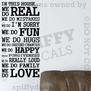 IN THIS HOUSE FAMILY WE DO LOVE FUN REAL Quote Vinyl Wall Decal Decor