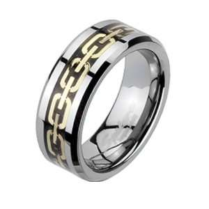 Size 7  Spikes Tungsten Carbide Gold IP Chain Link Band Ring Jewelry