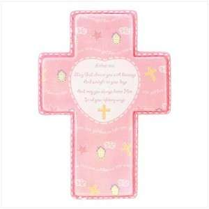 Religious Christian Wall Pink Prayer Cross for Baby Girl