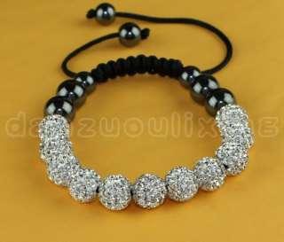 White Czech Crystal 11*10MM Disco Ball Shamballa Bracelets