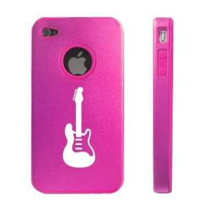 iPhone 4 4S 4G Hot Pink D1941 Aluminum & Silicone Case Cover Guitar