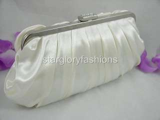 Ivory/Cream Satin Roses Pleated Wedding Clutch Rhinestones EC 09238