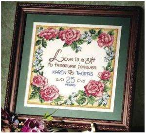 XS Kit   Wedding Anniversary Flower Heart   W DMC floss