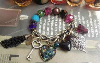 Fashion Vintage Peacock Feather Charm Bracelet