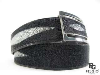 PELGIO New Genuine Stingray Skin Leather 3 Pearl Money Back Mens Belt