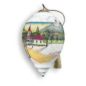 Old Rugged Cross Hand Painted Glass Ornament