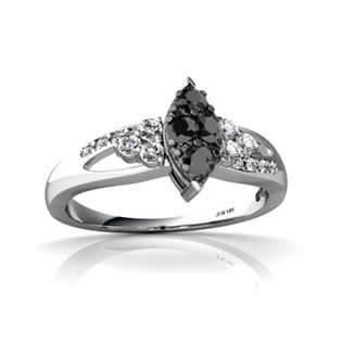 Jewels For Me Black Diamond Antique Style Ring 14K White Gold Genuine