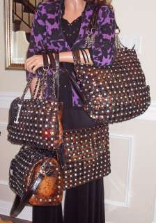 New Large GGing Genuine Leather, Crystal Studded Crossbody Bag