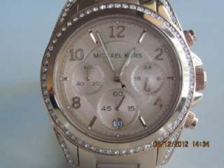 MK 5263 Womens Rose Gold Stainless Steel Crystal Chronograph Watch
