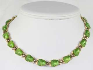 Signed Trifari Lime Green Fruit Salad Rhinestone Necklace