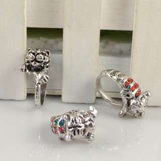 WhOLESALE 10 PCS VINTAGE SILVER PLATED COCKTAIL TTIGER CRYSTAL CHIC