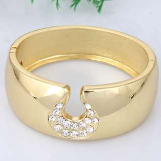 design teardrop rhinestone gold plated sleek stretchy cuff bracelet