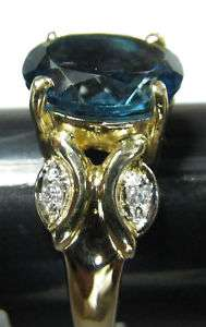 DIAMONDS AND LONDON BLUE TOPAZ 10K GOLD RING SZ 6 1/2