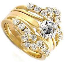 7ct 18kt Gold Plated Wedding Band Engagement Ring Set