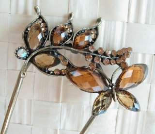 SWAROVSKI CRYSTAL BRONZE BUTTERFLY LEAF HAIR STICK PIN PICK 650
