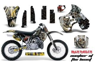 AMR RACING DIRT BIKE NUMBER PLATE STICKER KAWASAKI KX 500 88 04 IRON
