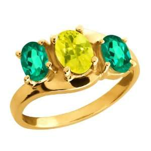 05 Ct Genuine Oval Canary Mystic Topaz Gemstone 18k Yellow Gold Ring