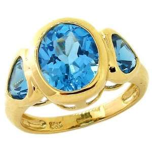 and Heart Three Stone Ring Swiss Blue Topaz, size7.5 diViene Jewelry