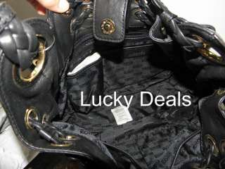 New MICHAEL KORS Braided Grommet Leather Tote Handbag Bag Black