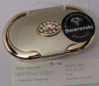 New Swarovski Crystal Elegant GOLD PILL BOX Case Oval 3 Compartment