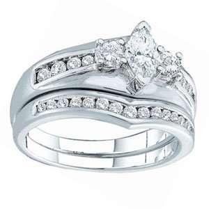 1 Carat Marquise Round Diamond 14k White Gold Bridal Set Jewelry