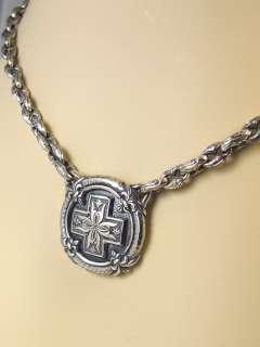 Kay Sterling Silver Celtic Cross Fleur De Lis Polo Link Necklace Goth