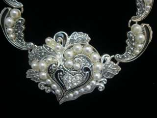Victorian Crystal & Pearl Heart Statement Necklace Set
