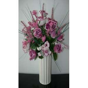 Mauve & Mauve/Ivory Rose Silk Floral Arrangement In Ivory
