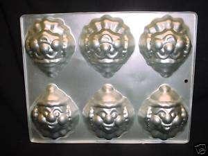 Wilton CLOWN cake pan mini MONKEY COOKIE Candy 6 mold