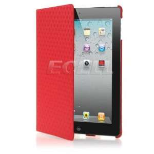 Ecell   RED DIAMOND DESIGN LEATHER CASE & STAND FOR iPAD 2