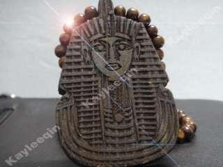 Wooden Egypt Pharaoh King Tut Piece Pendant Wood Rosary Bead Chain