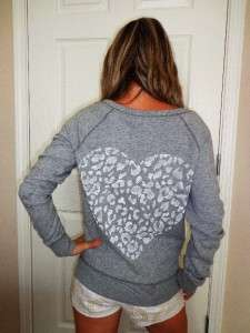 VICTORIAS SECRET LOVE PINK Gray Leopard Print Pull Over Crew Sweat
