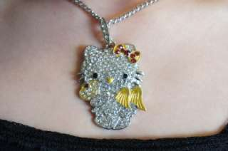 HELLO KITTY ANGEL NECKLACE WITH SWAROVSKI CRYSTAL CUTE