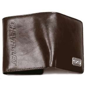 Chevy Ss Brown Leather Trifold Wallet By Motorhead Products Mh1579