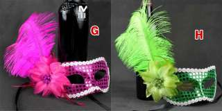 Party Sequin Mask Costume Venetian Masquerade Flower Ostrich Feather