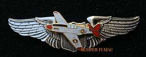 AIRMAN PILOT WING PIN US ARMY CORPS AIR FORCE P 51 MUSTANG RED TAILS