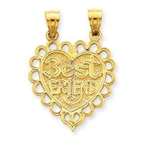 Best Friend 2 Piece Break Apart Heart Charm   JewelryWeb Jewelry