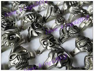 wholesale lots 25pcs skull carved biker mens alloy rings jewelry FREE