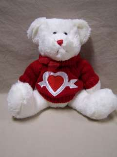 Dan Dee White Plush Bear Red Knit Sweater with Heart