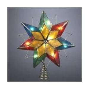 Lighted Multi Color Capiz Star with Rhinestones Christmas Tree Topper
