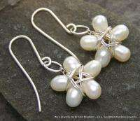 Freshwater PEARL Sterling Silver WIRE WRAP EARRINGS