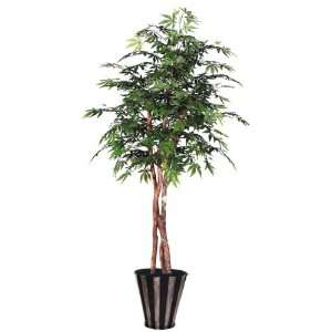 Potted Artificial Japanese Maple Tree in Striped Silver and Black