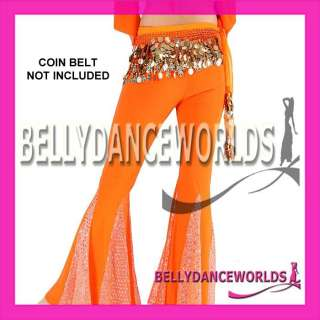 BELLY DANCE COSTUME SET CHOLI LACE WRAP TOP FISHTAIL PANTS BOLLYWOOD