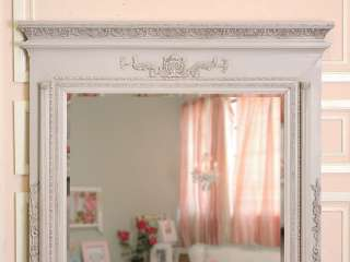 8433   Lovely Grey French Style Tremeau Mirror with Beveled Glas