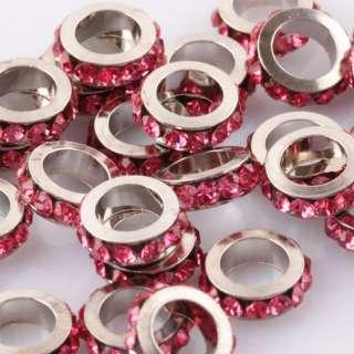 10X Tresor Pink Rhinestone Crystal Rondelle Spacer Findings Beads Fit
