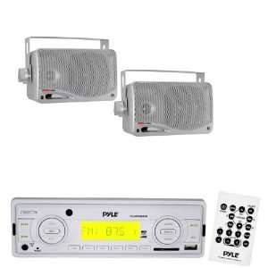 Pyle Marine Radio Receiver and Speaker Package   PLMR89WW AM/FM MPX IN
