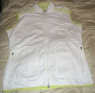 Nike Golf Outerwear Fitdry White & Lime Green Vest Jacket Large 12 14