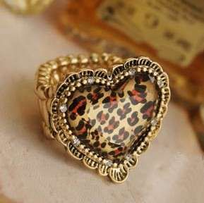 Cool leopard Heart Design Flexible Ring 4 Girl // Free Ship